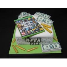 """Детский торт """"GTA. Пачка долларов"""""""