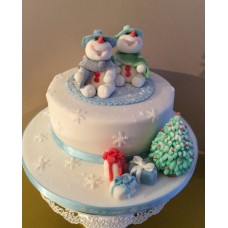 """Новогодний торт """"Пара снеговиков"""""""
