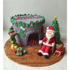 """Новогодний торт """"Дед Мороз у камина"""""""