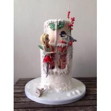 """Новогодний торт 2018 """"Фея и снегирь"""""""