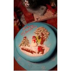 """Новогодний торт """"Снеговик под деревом"""""""