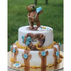 """Торт на 14 февраля """"Голубое сердечко от мишки"""""""