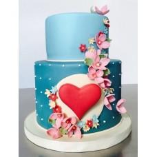 """Торт на день влюбленных """"Цветочное красное сердечко"""""""