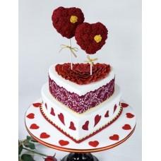 """Торт на день влюбленных """"Сердечные цветы на палочках"""""""