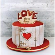 """Торт на 14 февраля """"Дверь с сердцем"""""""