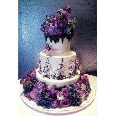 """Свадебный торт """"Фиолетовый рай из цветов"""""""