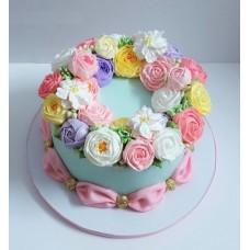 """Торт с цветами из крема """"Поляна ярких цветов"""""""