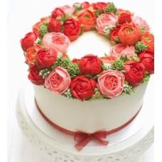 """Торт с цветами из крема """"Нежные садовые цветы"""""""