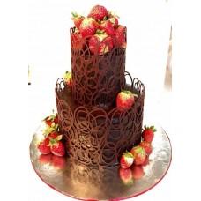 """Торт с цветами из крема """"Розочки персикового цвета"""""""