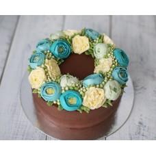 """Торт с цветами из крема """"Голубая прелесть"""""""