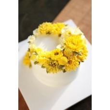"""Торт с цветами из крема """"Желтые хризантемы"""""""