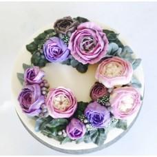 """Торт с цветами из крема """"Яркие пионы"""""""