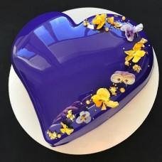"""Торт с зеркальной глазурью """"Фиолетовое глянцевое сердце"""""""