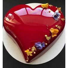 """Торт с зеркальной глазурью """"Красное глянцевое сердце"""""""