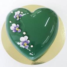 "Торт с глянцевым покрытием ""Фисташковое глянцевое сердце"""