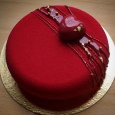 """Торт с велюровым покрытием """"Сердце политое шоколадом"""""""