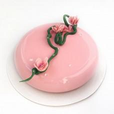 """Торт с покрытием гляссаж """"Веточка на розовом глянце"""""""