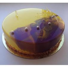 """Торт с мраморной глазурью """"Фиолетовый и золото"""""""
