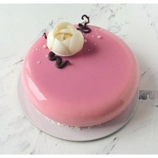 """Торт с покрытием гляссаж """"Нежный глянец и белый цветок"""""""
