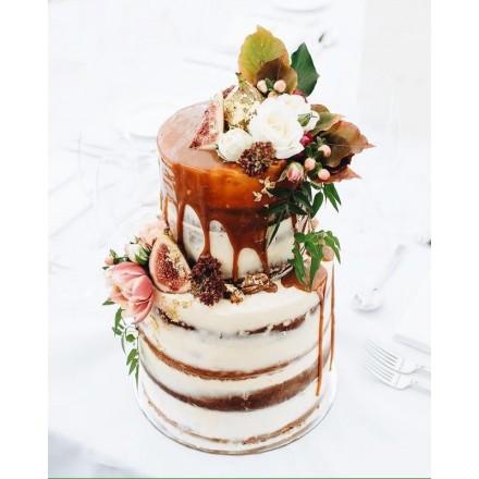 """Торт """"Цветы и инжир на бисквите"""""""