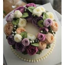 """Торт с цветами из крема """"Разноцветные нежные розочки"""""""