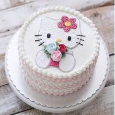 "Детский торт ""Hello Kitty с цветами"""