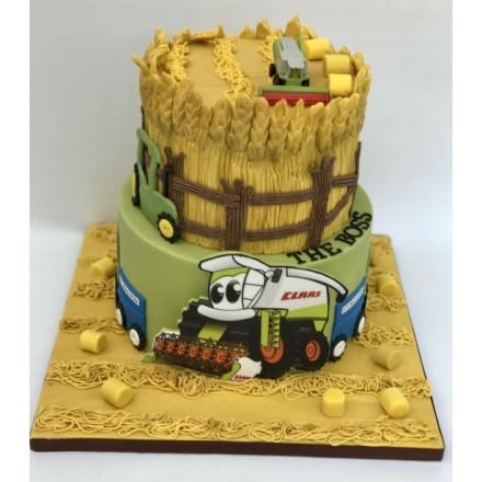 """Детский торт """"Трактор на сенокосе"""""""