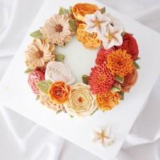"""Торт с цветами из крема """"Оранжевые цветочки"""""""