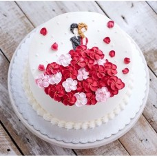 """Торт с цветами из крема """"Цветочное платье"""""""
