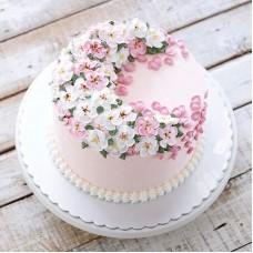 """Торт с цветами из крема """"Милые цветочки"""""""