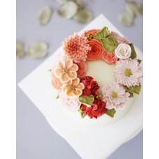 """Торт с цветами из крема """"Оттенки осени"""""""
