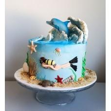 """Торт """"Аквалангист и дельфин"""""""