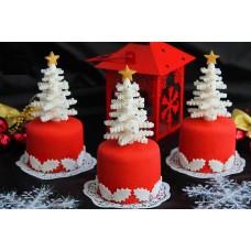 """Пирожные на Новый год """"Белоснежные елочки"""""""