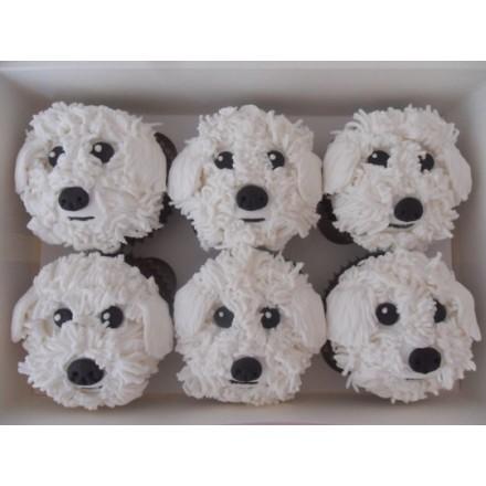 """Капкейки на Новый год """"Белые мордочки собак"""""""