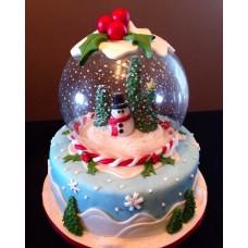 """Новогодний торт """"Снеговик в шаре"""""""