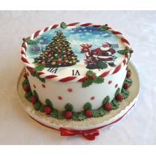 """Новогодний торт с фотопечатью 2018 """"Красивая елка"""""""