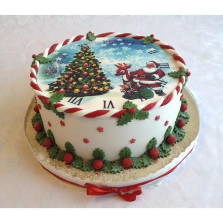 """Новогодний торт с фотопечатью """"Красивая елка"""""""